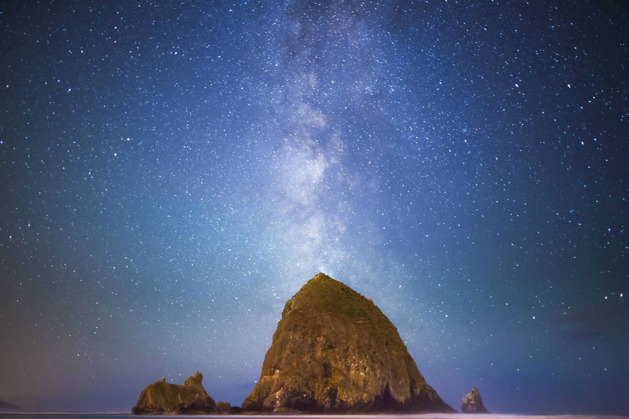 Haystack Rock Oregon Coast Milky Way Galaxy