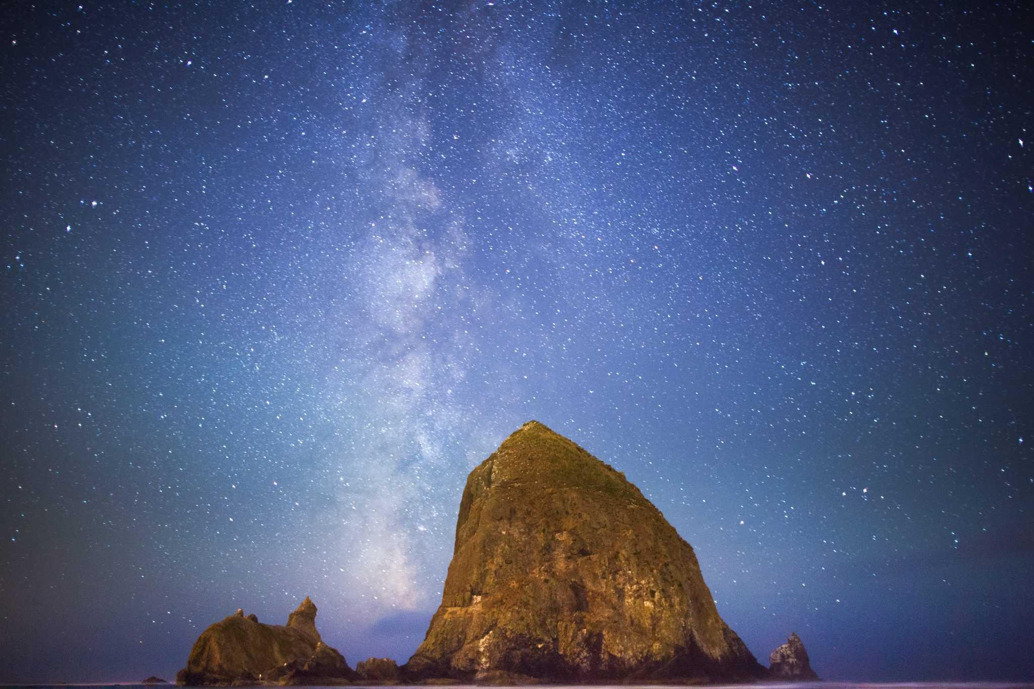 Milky Way Galaxy over Haystack Rock Cannon Beach